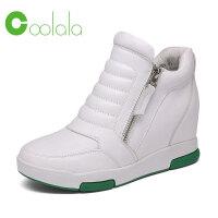 红蜻蜓旗下品牌coolala冬季新款真皮休闲内增高女鞋HTB6809