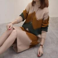 新年特惠秋冬季新款加肥加大码毛衣外套胖mm减龄中长款针织衫连衣裙200斤 XL 100-125斤