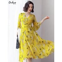 2019流行夏天裙子超仙三亚海边度假沙滩裙中长款大摆裙黄色连衣裙