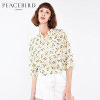太平鸟女装春装新款复古宽松蝙蝠袖印花上衣女七分袖短款衬衫女