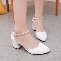 小清新中跟5cm一字扣串珠高跟鞋女尖头百搭工作白色性感单鞋皮鞋
