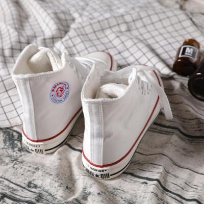 二棉鞋2018冬季新款加绒高帮帆布鞋女学生韩版百搭黑高邦板 白色 加绒