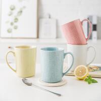 日韩式小清新陶瓷马克杯大容量水杯家用简约纯色杯子咖啡杯牛奶杯