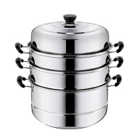 不锈钢蒸锅1二2层三3四4层加厚蒸笼蒸格汤锅双层煤气电磁炉蒸锅具
