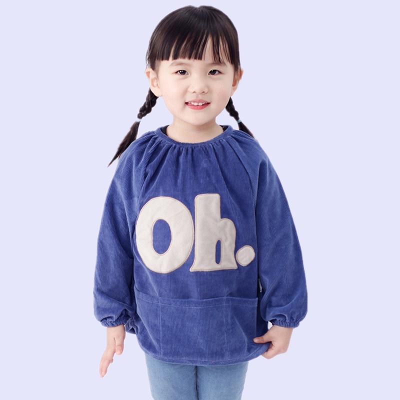 儿童罩衣灯芯绒春秋季罩衣宝宝长袖吃饭衣画画衣服男女大童反穿衣