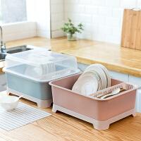 厨房碗筷收纳盒带盖沥水碗碟架特大号装放盘子餐具置物箱碗柜塑料