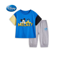 迪士尼男童夏装套装撞色短袖拼接新款儿童夏装男儿童七分裤套装潮