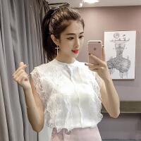 新款夏装韩版蕾丝花边拼接短款性感无袖冰丝针织衫背心上衣女