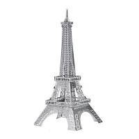 3D金属拼图立体金属模型建筑汽车坦克军事城堡创意礼品玩具模型 乳白色 银色巴黎铁塔