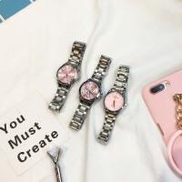 日系气质粉色手表新款少女学生圆形小表盘钢带防水简约百搭石英表
