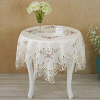 欧式圆桌布蕾丝刺绣水溶花边桌布盖巾茶几布十字绣桌布台布定制 米色jx017