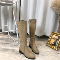 长筒靴女2019春季新款加绒棉保暖粗跟后系带机车靴马丁靴