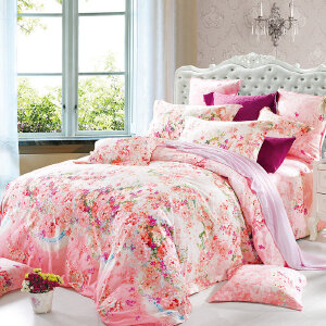 【领券立减100元】优雅100床上四件套 喷气精梳纯棉印花床单被套家纺用品 姹紫嫣红