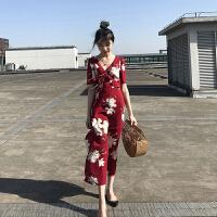 潮品 海边旅游度假泰国旅游长款连衣裙巴厘岛马尔代夫沙滩裙复古超仙的连衣裙 樱桃红