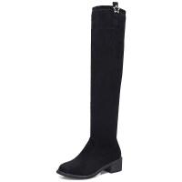 过膝靴2018秋冬季新品女高筒平底瘦瘦长筒靴弹力靴加绒靴子女 黑色加绒