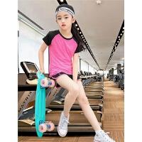女童运动套装夏季女大童儿童女孩时尚短袖速干衣跑步健身服两件套