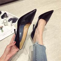 尖头浅口细跟超高跟鞋春季新款女鞋韩版时尚通勤学生气质低帮鞋黑