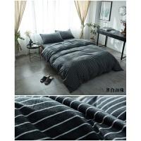 天竺棉四件套针织棉裸睡软条纹被套全棉床笠床单日式定制 2.0m(6.6英尺)床 床单款(经典通用)