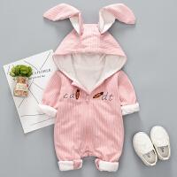婴儿连体衣服春秋女宝宝哈衣0岁男新生儿3个月潮款婴幼儿秋装