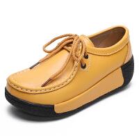 休闲摇摇鞋2019女厚底松糕单鞋百搭增高舒适坡跟女鞋