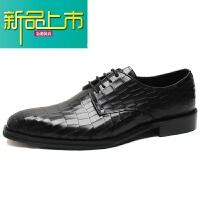 新品上市意大利纹男鞋经典方头德比鞋商务正装真皮鞋男士固异手工鞋 黑