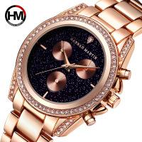 日本机芯手表新款女士玫瑰金时尚镶钻腕表防水石英钢带手腕表