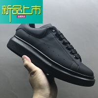 新品上市19新款小白鞋男内增高版本全黑真皮厚底情侣款运动鞋男女鞋