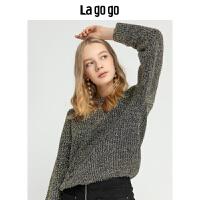 Lagogo/拉谷谷2019新款街头酷炫朋克风针织衫女HCMM46ZA23