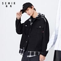 森马夹克男装2021春季新款韩版时尚宽松外套学生连帽拼接潮流上衣