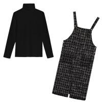 2019新款大码女装秋冬装新款微胖mm连衣裙洋气减龄胖妹妹显瘦两件套女 黑色 套装