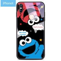iphone7plus手机壳苹果x芝麻街手机壳卡通可爱8plus玻璃壳女款情侣个性创意7P潮牌苹果x