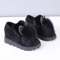豆豆毛毛鞋女冬2018新款韩版内增高厚底雪地棉鞋子百搭加绒兔耳朵