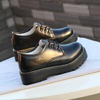 BANGDE冬季英伦风女鞋学院风学生日系单鞋复古圆头加绒厚底黑色皮鞋女 黑色 加绒版
