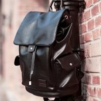 潮牌双肩皮包男女士大容量青年翻盖14寸电脑书包软皮旅行背包防水
