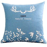 蓝色麋鹿棉麻布艺抱枕套美式客厅沙发靠垫办公室抱枕靠枕腰靠