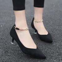 韩版百搭黑色高跟鞋女2019新款少女细跟一字扣带单鞋小清新公主鞋