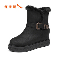 红蜻蜓女鞋秋冬休闲鞋鞋子女加绒短靴WCC7730