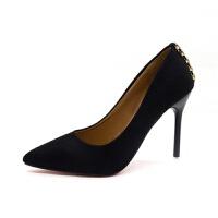 绒面女士高跟鞋 新款浅口韩版圆扣水钻尖头高跟鞋 细跟公主鞋