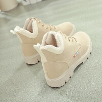 加绒雪地靴女棉鞋短靴秋冬季2018新款韩版女鞋百搭鞋子英伦马丁