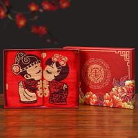 婚庆用品创意喜庆红色礼盒装毛巾老公老婆卡通情侣婚礼回礼