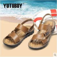 YUTUBOY新品凉鞋日常休闲沙滩鞋男士真皮凉鞋露趾厚底男凉鞋Y57636