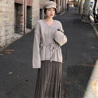 赫本风网红套装裙秋冬季心机女神范御姐小香风毛衣搭配长裙两件套 米灰色上衣+蕨褐色半身裙