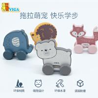 VIGA/唯嘉拖拉玩具儿童拉线早教学步神器1-2岁宝宝牵引手拉玩具车