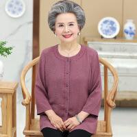 奶奶夏装雪纺衬衫60岁70老年人圆领衬衣女老太太胖婆婆装中袖上衣