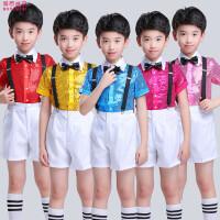男孩小学生合唱套装儿童节演出服男童背带裤表演服装