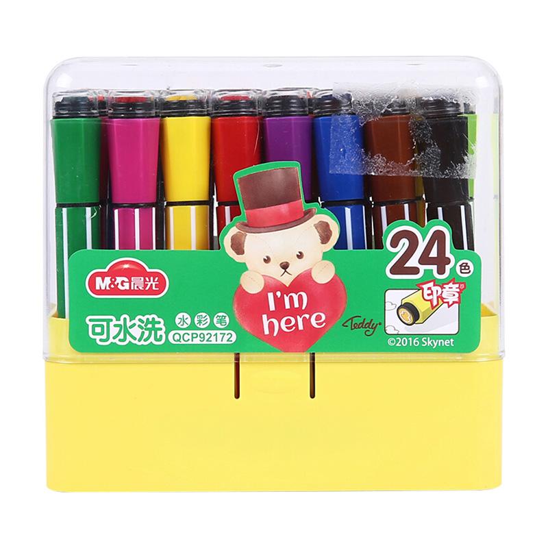 M&G晨光 QCP92172 (24色)色印章六角可洗水彩笔泰迪 (1盒)当当自营