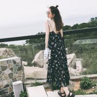夏季吊带长裙小清新露背沙滩裙泰国度假鱼尾裙雪纺连衣裙女仙 露背吊带裙