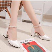 白色高跟鞋女粗跟一字扣带中空韩版学生气质单鞋5cm圆头小码工作