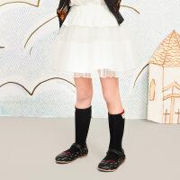 【秒杀价:119元】马拉丁童装女童腰裙春装2020年新款白色网纱群短裙打底半身裙