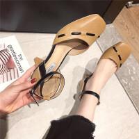 2019夏季新款时尚韩版中跟异形跟百搭时尚休闲包头一字扣复古女鞋